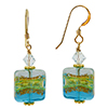 Aqua Serale Squares Murano Glass Earrings with Gold Fill Ear Wires