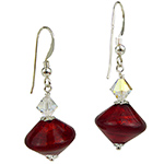 Red Bicone Earrings Murano Glass with Sterling Silver Ear Wires and Swarovski Crystals
