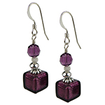 Murano Glass Earrings with Amethyst Cubes and Sterling Silver Findings