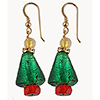 Christmas Tree Murano Glass Earrings in Green and Gold