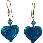 Double Heart Aqua on 24k Gold Foil Murano Glass Earrings with Gold Fill Earwires