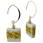 White Greek Opaque Gold Foil Squares Earrings with Gold Fill V Earrings