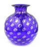 7 1/2 in H; 6 1/2 in dia sphere Lapis (dark blue) w/ Gold starbursts Murano Glass Round Vase