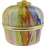 Murano Glass Mouth Blown Treasure Box Topaz