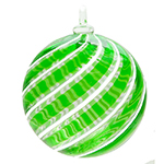 Green and White Filigrana Swirls Murano Glass Hanging Ornament