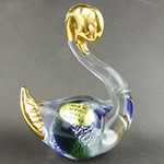 Blue and Green Swan with 24k tGold Foil Accents Murano Glass