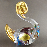 Topaz and Aqua Swan with 24k tGold Foil Accents Murano Glass
