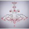 Pink Rose Venetian Glass Chandelier 5 Lamps