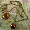 Topaz Venetian Glass Bead Pendant Necklace 18 Inches - No Clasp Needed