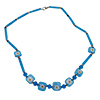 Aqua Tubes and Daisies 20 Inch Murano Glass Necklace