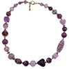 One of a Kind Murano Glass Necklace Pinks and Purples 34 Inches with Extender