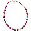 One of a Kind Murano Glass Necklace Reds 34 Inches with Extender