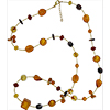 Topaz and Gold with Gold Seed Bead Long 34 Inch Authentic Murano Glass Necklace