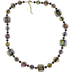 Over the Rainbow - Black Dichroic Venetian Glass Necklace 24 Inches w/2 Inch Extender