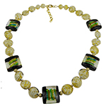Windows Double Stripe Necklace Green & Aqua 18 Inches with 2 Inch Extension