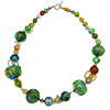 Eclectic Murano Glass Necklace 24 Inches with Sterling Silver Clasp