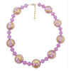 Pink Zanfirico Millefiori Murano Glass Necklace 18 Inches with 2 Inch Extension