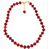 Deep Red/Orange Clouds Murano Glass Necklace 16 Inches w/ 2 Inch Extender, with Gold Tone Clasp