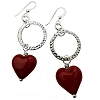 Red Heart Murano Glass and Circle Earrings