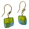 Aqua and Green 4 Colors Square Earring over Silver and Gold Murano Glass