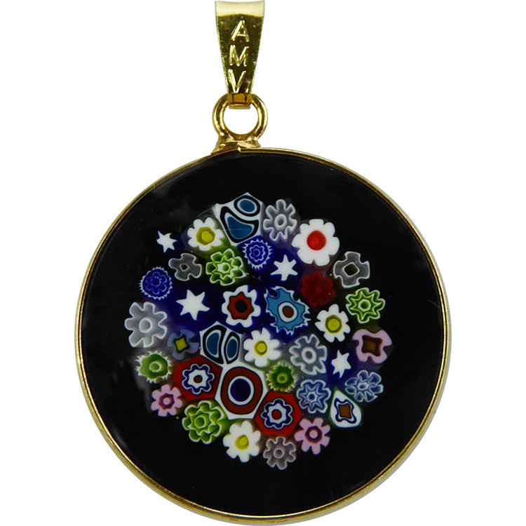 Italian Gold Chain >> Black Multi 23mm Millefiori Pendant, Murano glass beads Venetian Glass venetian bead jewelry ...