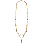 Purple Ca'd'oro Cubes and Swarovski Crystal Pearls Necklace with Double Chain 40 Inches