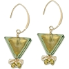 Olivine Inverted Triangles with Swarovski Crystal Dangles and Gold Fill Ear Wires