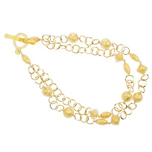 Gold Foil Murano Glass Beads and Plated Gold Chain Necklace 18 Inches
