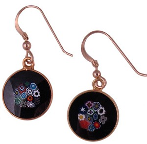 Black Bouquet Earrings 14mm Gold Plate