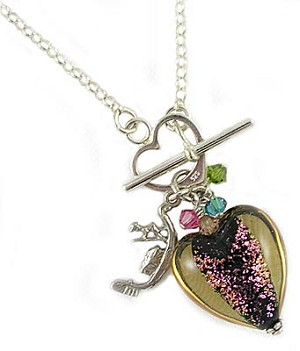 18 Inch Venetian Dichroic Heart Necklace, Topaz & Pink