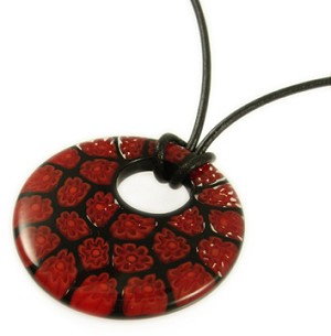Bold Black/Red Millefiori Donut Necklace