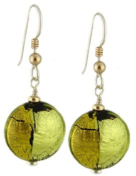 Pezzi Earrings - Green over Silver and Gold