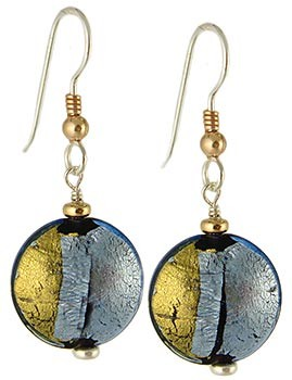 Pezzi Earrings - Blue over Crystal and Gold