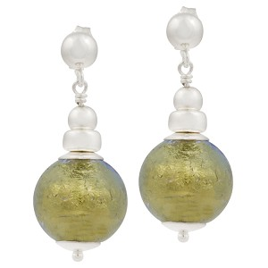 Silver Dangle Earrings with Light Blue 24kt Gold Foil Murano Glass Bead
