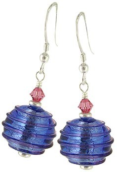 Spirale Earrings - Pink over Blue and Silver