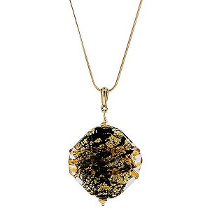 Textured Diamond Pendant - Black with Topaz Swirls