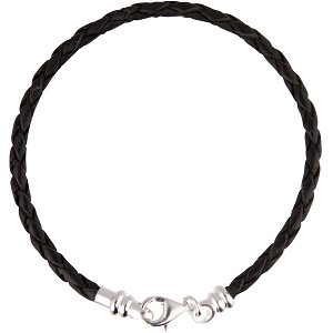 PERLAVITA Braided Leather Bracelet, 7.5 Inch, Black