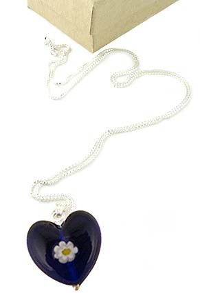 Blue Heart Necklace w/chain