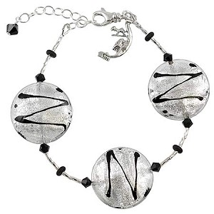 ZigZag Murano Glass Bracelet - Silver and Black - Adjustable