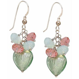 Mint Murano Glass Heart with Swarovski Dangles Earrings Sterling Silver Earwires