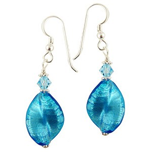 Aqua Twist White Gold Murano Glass Earrings