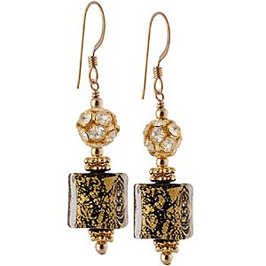 Ca' d'Oro Cube Earrings, Black and Gold Murano Glass