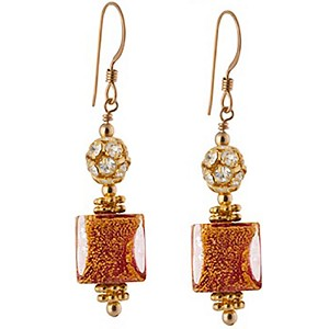 Ca' d'Oro Cube Earrings, Red and Gold Murano Glass with Crystals and Gold Fill Earwires