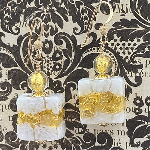 White Millefiori Lace Earrings with Gold Fill Earwires Authentic Murano Glass