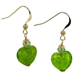 Green Nuvola Murano Glass Heart Beads with Gold Fill Ear Wires