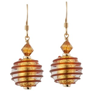 Spirale Earrings - Red Spirals over 24kt Gold Foil Murano Lampwork Beads