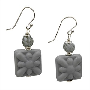 Grey Crocus Murano Glass Bead with Sterling Silver Ear Wire Earrings