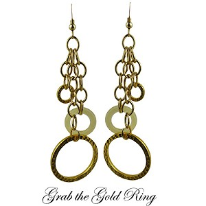 Grab the Gold Ring Dangling Earrings with Murano Glass