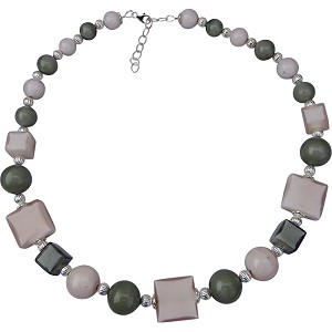 Pink and Gray Caramella Necklace 19Inches with 2 Inch Extension