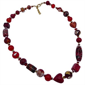 One of a Kind Murano Glass Necklace Reds 26 Inches with Extender